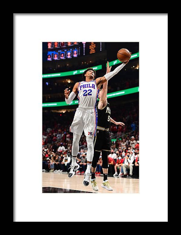 Atlanta Framed Print featuring the photograph 2021 NBA Playoffs - Philadelphia 76ers v Atlanta Hawks by Scott Cunningham