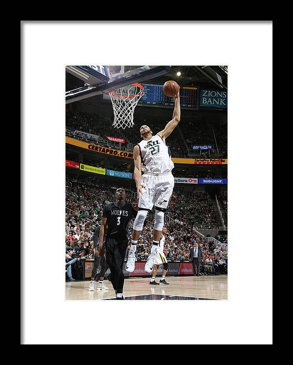 Nba Pro Basketball Framed Print featuring the photograph Rudy Gobert by Melissa Majchrzak