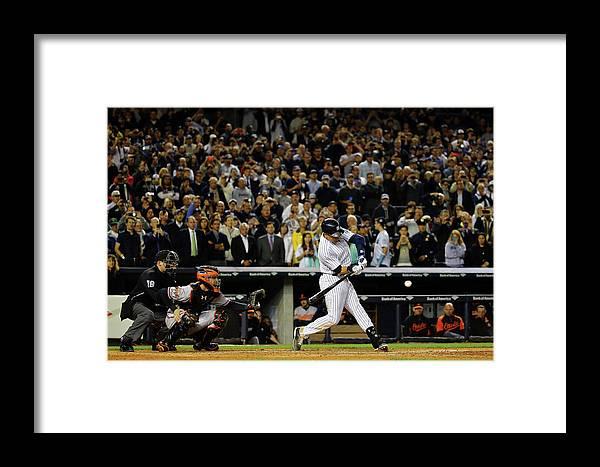 American League Baseball Framed Print featuring the photograph Derek Jeter by Al Bello