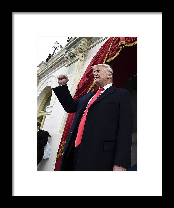 Three Quarter Length Framed Print featuring the photograph Donald Trump Is Sworn In As 45th President Of The United States by Pool