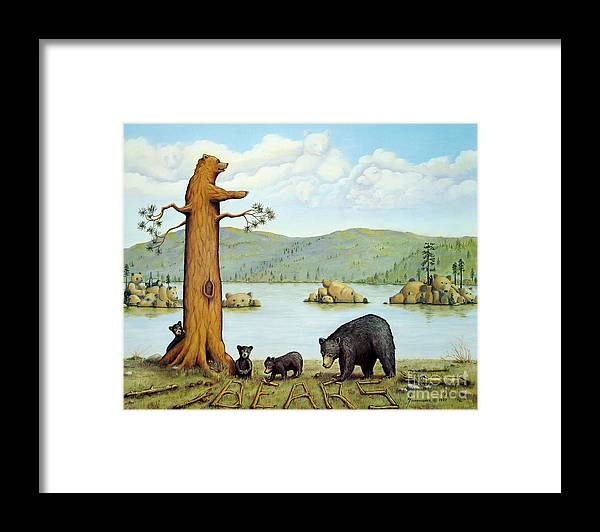 Bears Framed Print featuring the painting 27 Bears by Jerome Stumphauzer