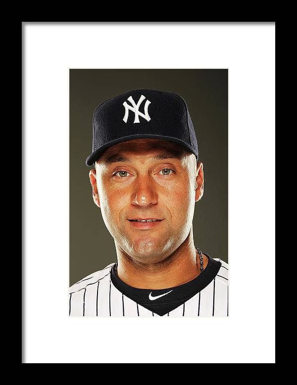 Media Day Framed Print featuring the photograph Derek Jeter by Al Bello