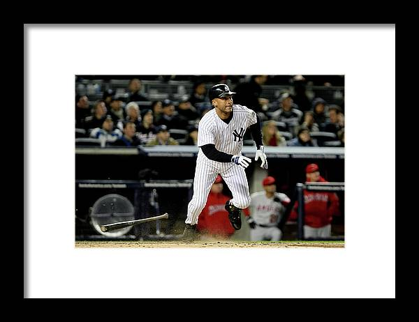 Playoffs Framed Print featuring the photograph Derek Jeter by Al Bello