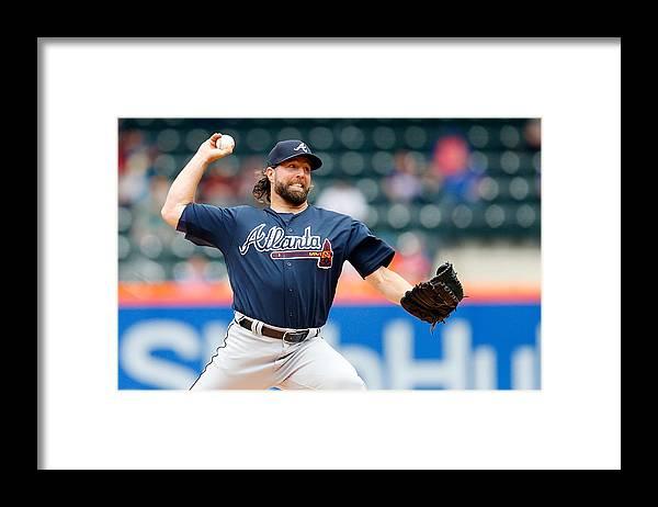 Three Quarter Length Framed Print featuring the photograph Atlanta Braves v New York Mets by Jim McIsaac