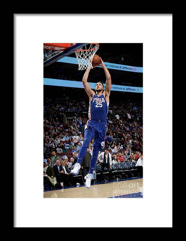 Nba Pro Basketball Framed Print featuring the photograph Ben Simmons by David Dow