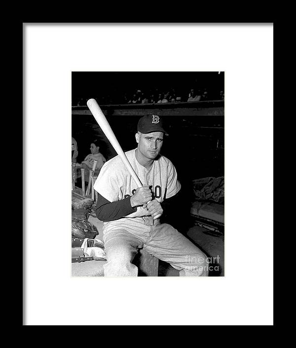 Three Quarter Length Framed Print featuring the photograph Bobby Doerr by Kidwiler Collection