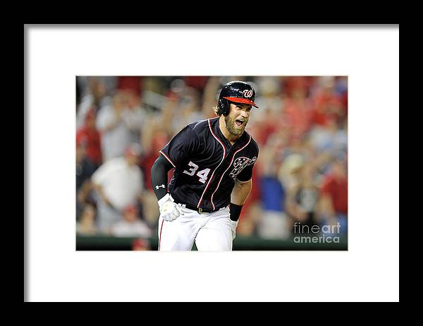 Three Quarter Length Framed Print featuring the photograph Bryce Harper by Greg Fiume