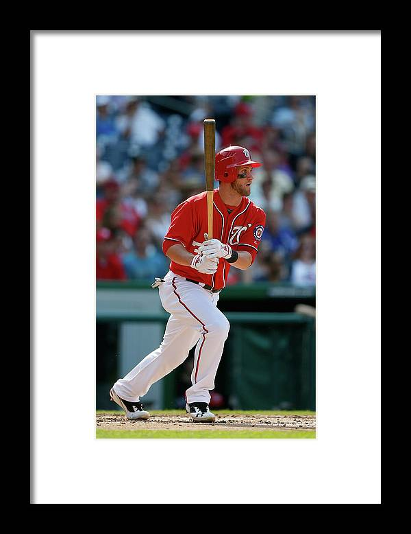 Following Framed Print featuring the photograph Bryce Harper by Rob Carr