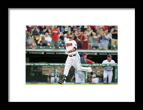 American League Baseball Framed Print featuring the photograph Carlos Santana by Jason Miller