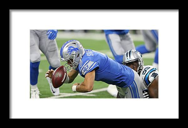 People Framed Print featuring the photograph Carolina Panthers v Detroit Lions by Leon Halip