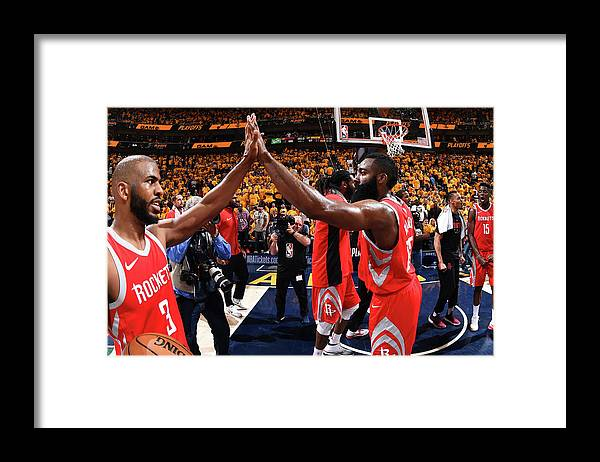 Playoffs Framed Print featuring the photograph Chris Paul and James Harden by Andrew D. Bernstein