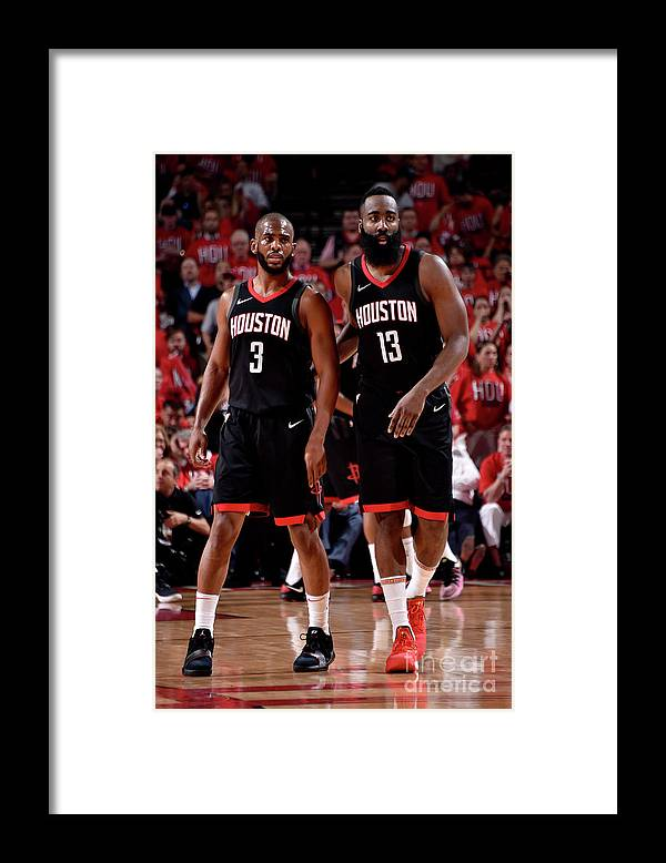 Playoffs Framed Print featuring the photograph Chris Paul and James Harden by Bill Baptist