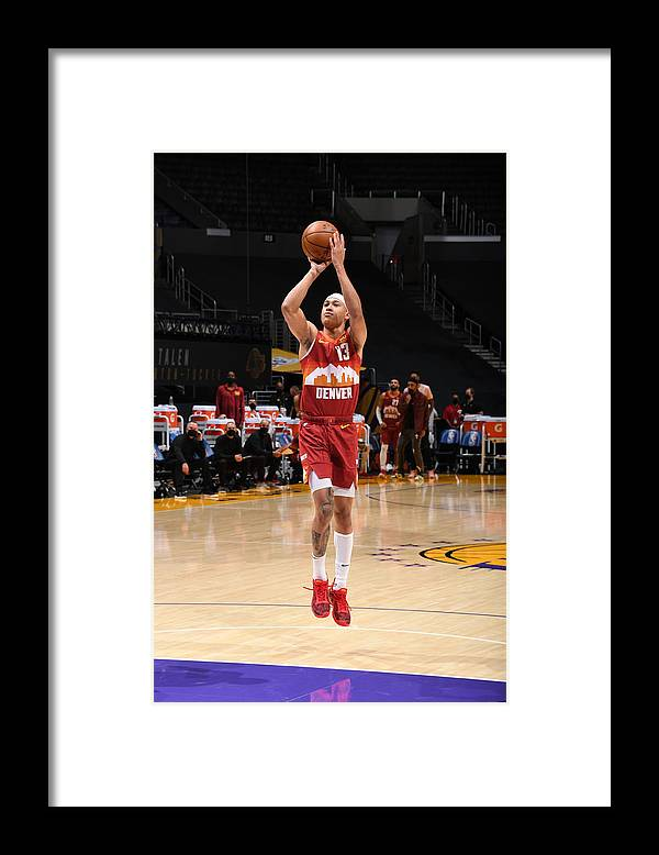 Nba Pro Basketball Framed Print featuring the photograph Denver Nuggets v Los Angeles Lakers by Adam Pantozzi