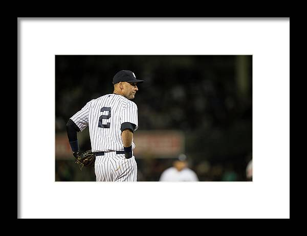 People Framed Print featuring the photograph Derek Jeter by Rob Tringali
