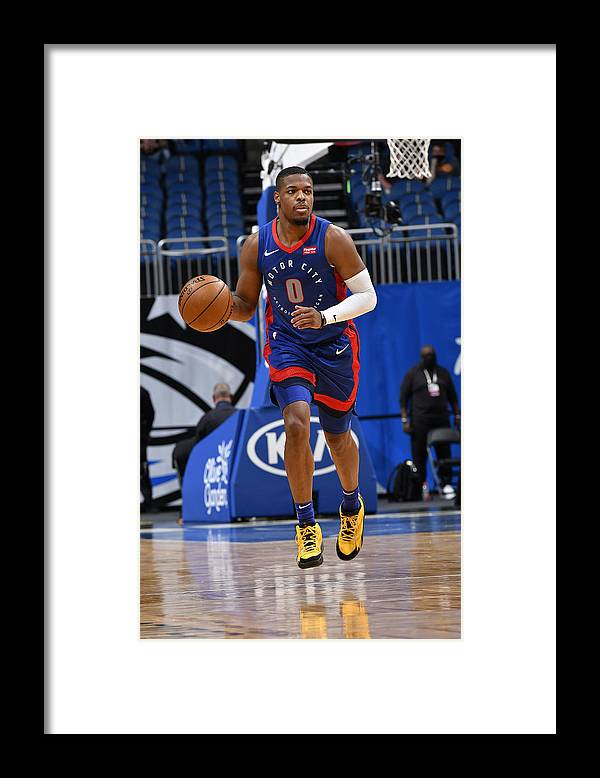 Nba Pro Basketball Framed Print featuring the photograph Detroit Pistons v Orlando Magic by Fernando Medina