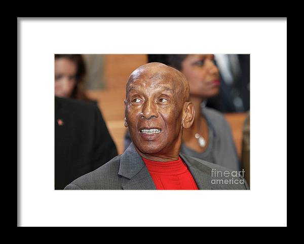 Atlanta Framed Print featuring the photograph Ernie Banks by Mike Zarrilli