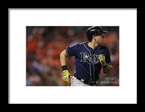 Three Quarter Length Framed Print featuring the photograph Evan Longoria by Patrick Smith