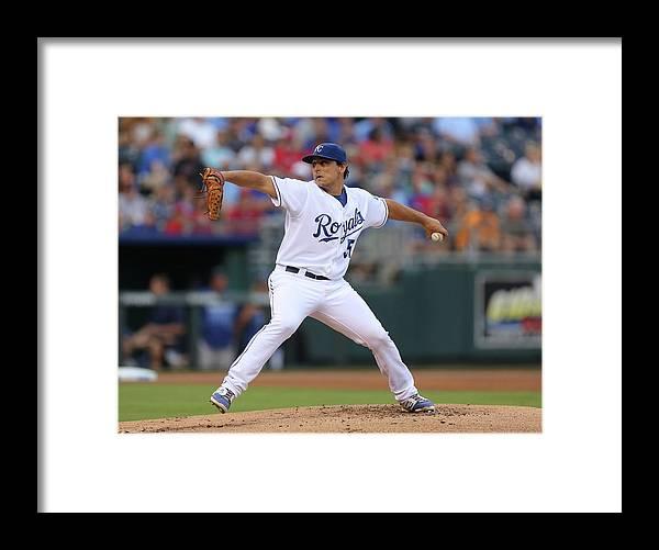 American League Baseball Framed Print featuring the photograph Jason Vargas by Ed Zurga