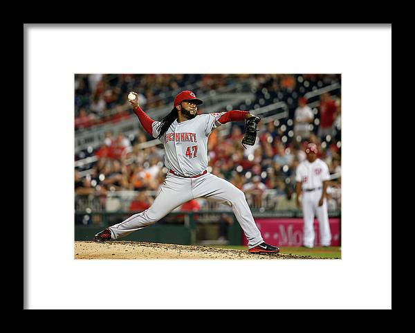 Ninth Inning Framed Print featuring the photograph Johnny Cueto by Rob Carr