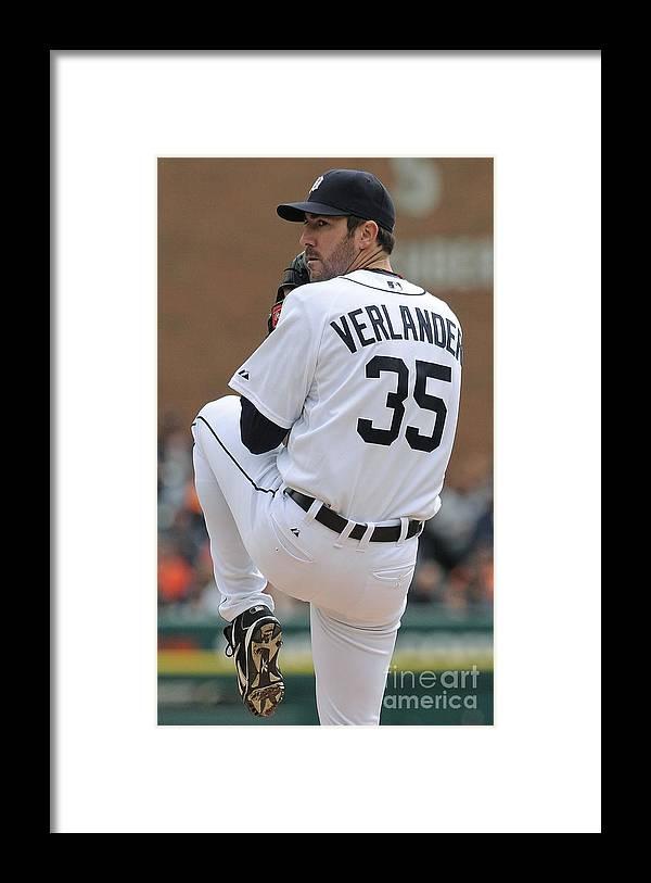 American League Baseball Framed Print featuring the photograph Justin Verlander by Mark Cunningham