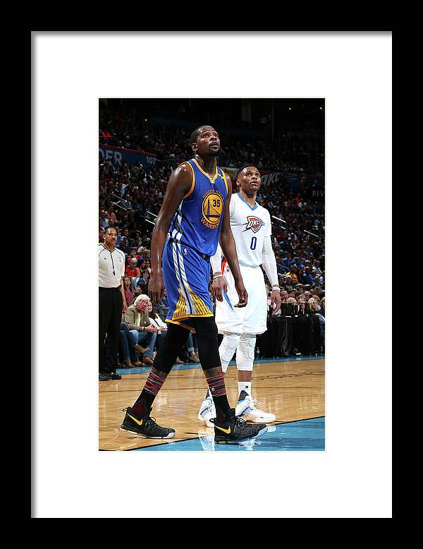 Nba Pro Basketball Framed Print featuring the photograph Kevin Durant and Russell Westbrook by Layne Murdoch