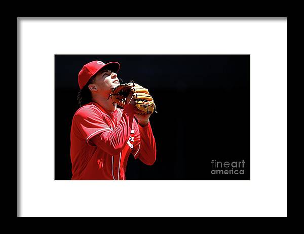 Great American Ball Park Framed Print featuring the photograph Luis Castillo by Joe Robbins