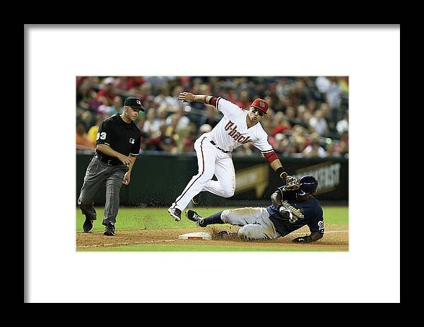 Ninth Inning Framed Print featuring the photograph Martin Prado by Christian Petersen