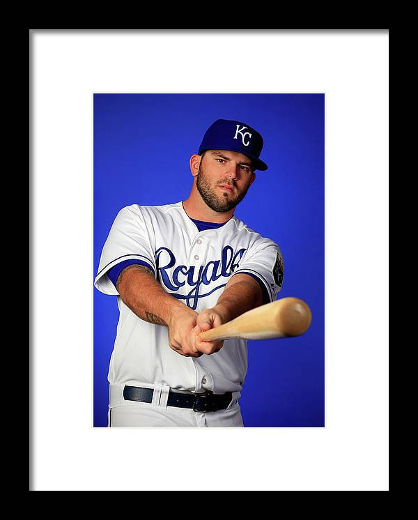 Media Day Framed Print featuring the photograph Mike Moustakas by Jamie Squire