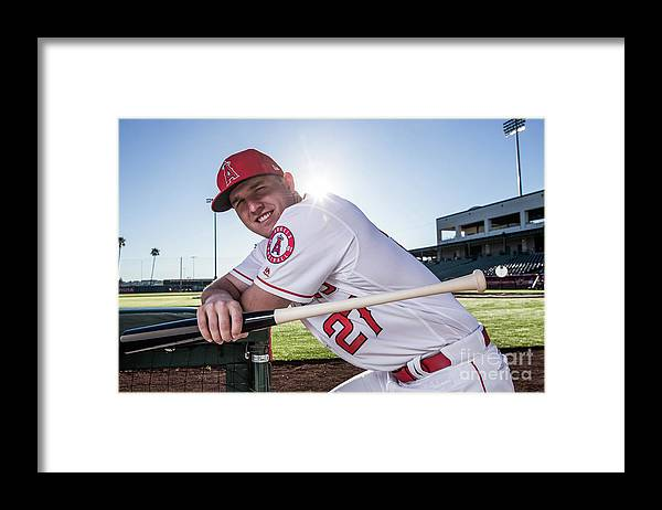 Media Day Framed Print featuring the photograph Mike Trout by Rob Tringali