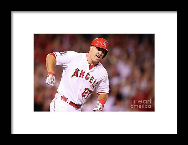 Ninth Inning Framed Print featuring the photograph Mike Trout by Stephen Dunn