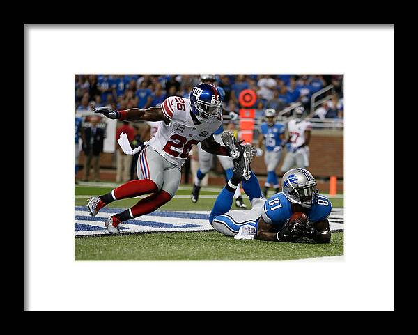 Detroit Framed Print featuring the photograph New York Giants v Detroit Lions by Gregory Shamus