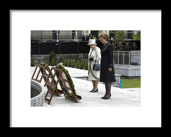 Dublin Framed Print featuring the photograph Queen Elizabeth II's Historic Visit To Ireland - Day One by Pool
