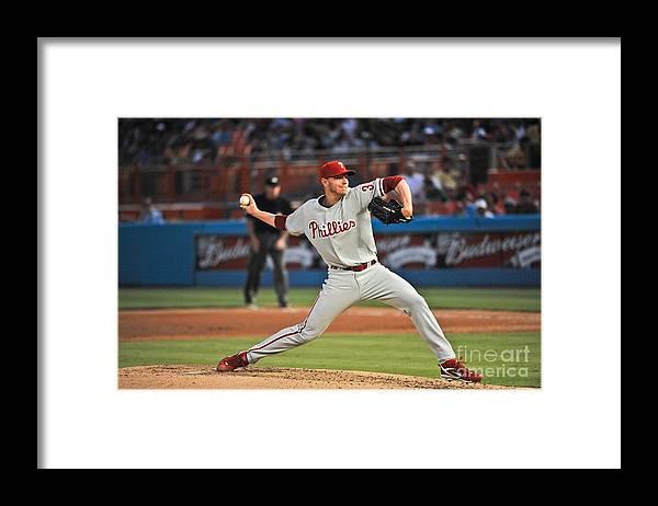 Hard Rock Stadium Framed Print featuring the photograph Roy Halladay by Ronald C. Modra