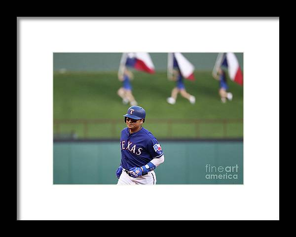 Three Quarter Length Framed Print featuring the photograph Shin-soo Choo by Ronald Martinez