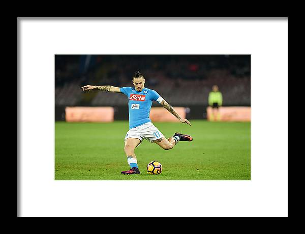 People Framed Print featuring the photograph SSC Napoli v US Sassuolo - Serie A by Francesco Pecoraro