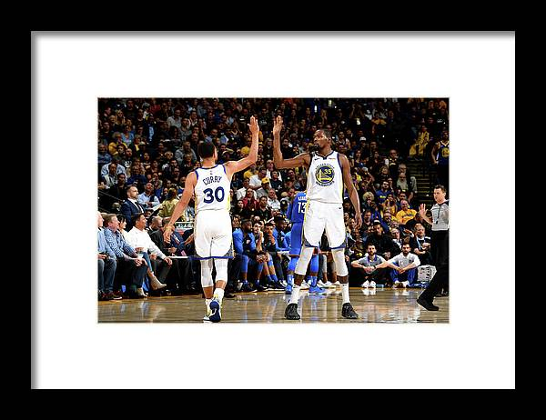 Nba Pro Basketball Framed Print featuring the photograph Stephen Curry and Kevin Durant by Noah Graham