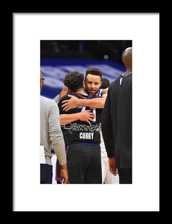Nba Pro Basketball Framed Print featuring the photograph Stephen Curry and Seth Curry by Jesse D. Garrabrant
