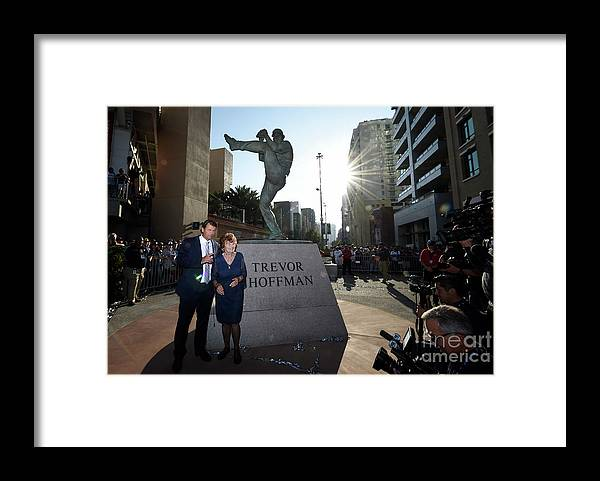 People Framed Print featuring the photograph Trevor Hoffman by Denis Poroy