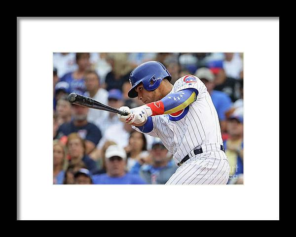 Three Quarter Length Framed Print featuring the photograph Willson Contreras by Jonathan Daniel