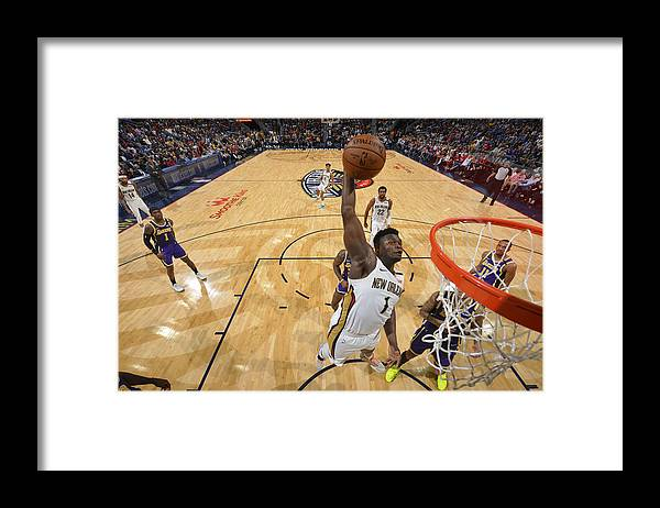 Smoothie King Center Framed Print featuring the photograph Zion Williamson by Jesse D. Garrabrant
