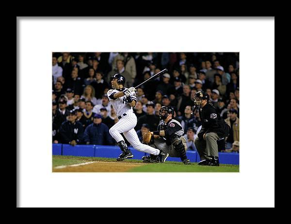 Sport Framed Print featuring the photograph Derek Jeter by Al Bello