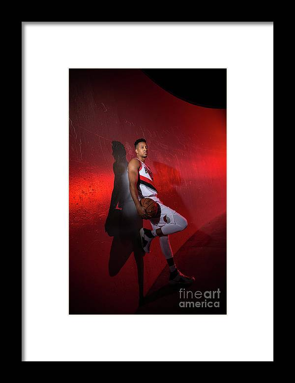 Media Day Framed Print featuring the photograph C.j. Mccollum by Sam Forencich
