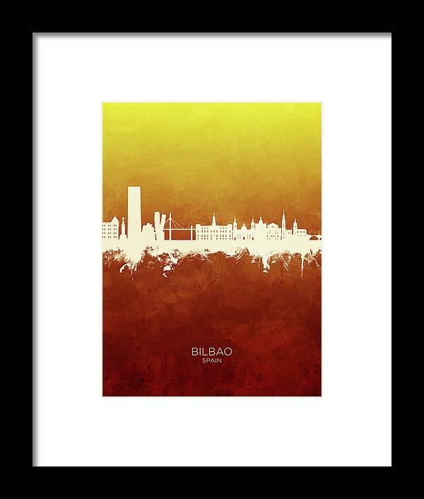 Bilbao Framed Print featuring the digital art Bilbao Spain Skyline by Michael Tompsett