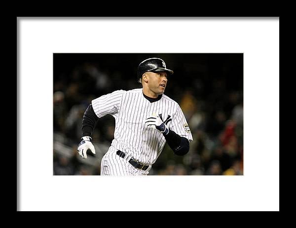 Playoffs Framed Print featuring the photograph Derek Jeter by Al Bello