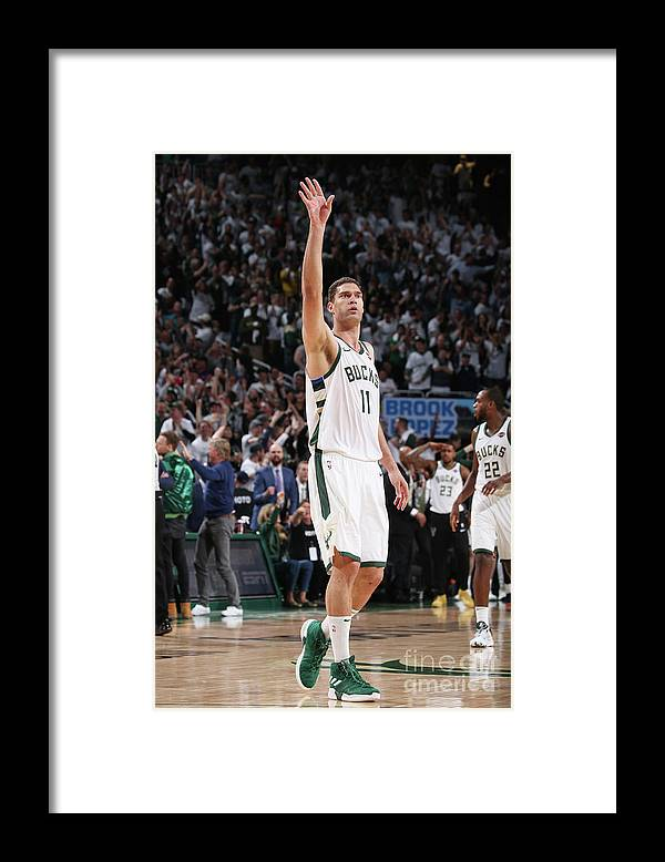 Playoffs Framed Print featuring the photograph Brook Lopez by Gary Dineen