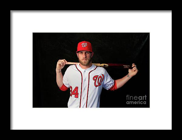 Media Day Framed Print featuring the photograph Bryce Harper by Rob Carr