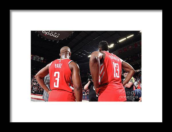 Nba Pro Basketball Framed Print featuring the photograph Chris Paul and James Harden by Andrew D. Bernstein