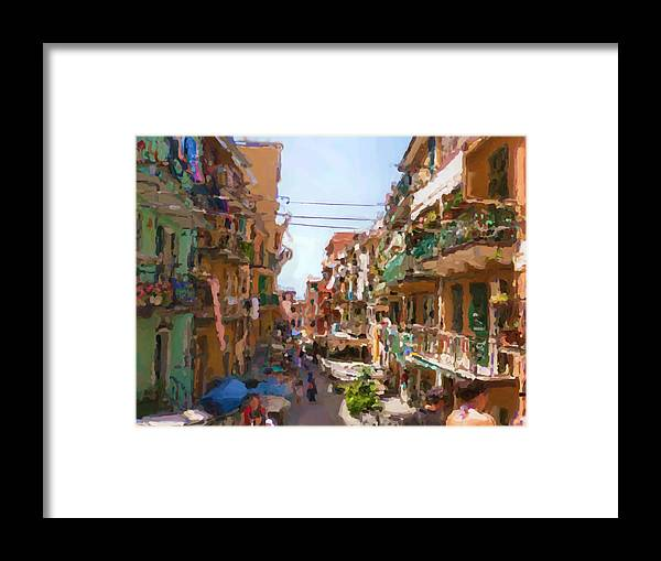 Cinque Terre Framed Print featuring the mixed media Cinque Terre by Asbjorn Lonvig