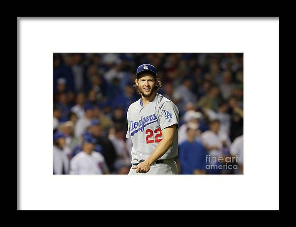 Game Two Framed Print featuring the photograph Clayton Kershaw by Jamie Squire