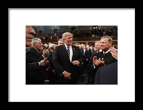 Event Framed Print featuring the photograph Donald Trump Delivers Address To Joint Session Of Congress by Pool